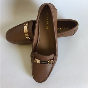 Coach brown leather flats size 10B